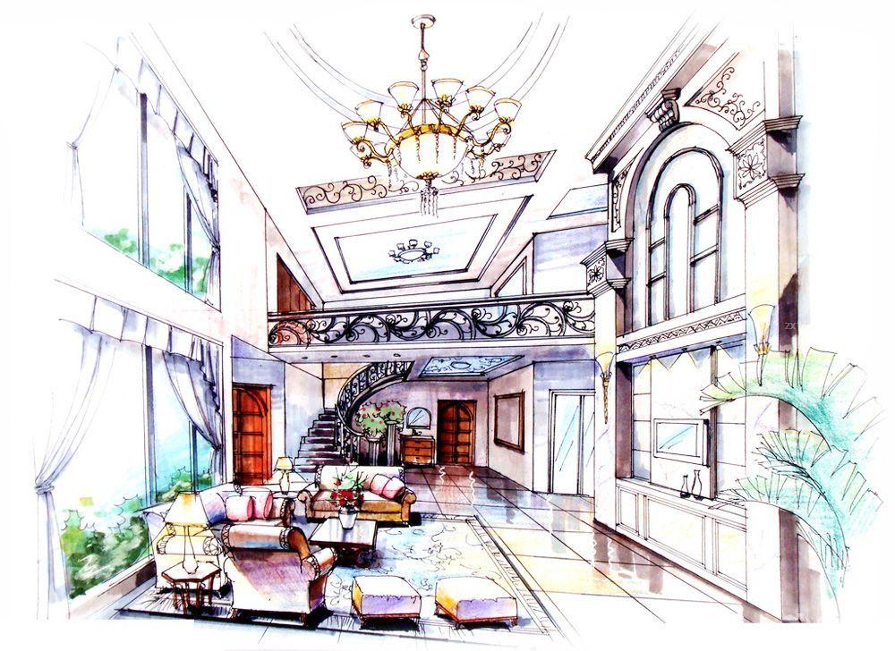 農村復式樓別墅客廳裝修設計圖紙大全