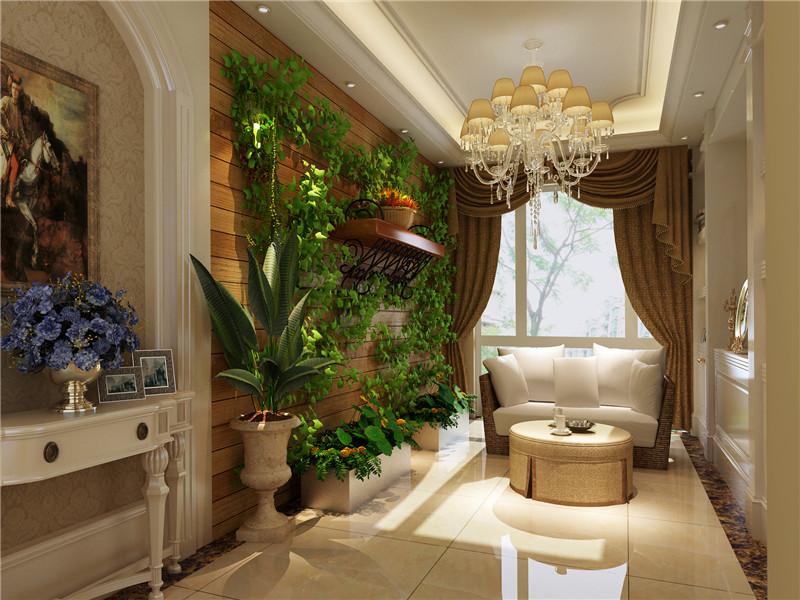歐式別墅背景墻盆栽植物圖片大全