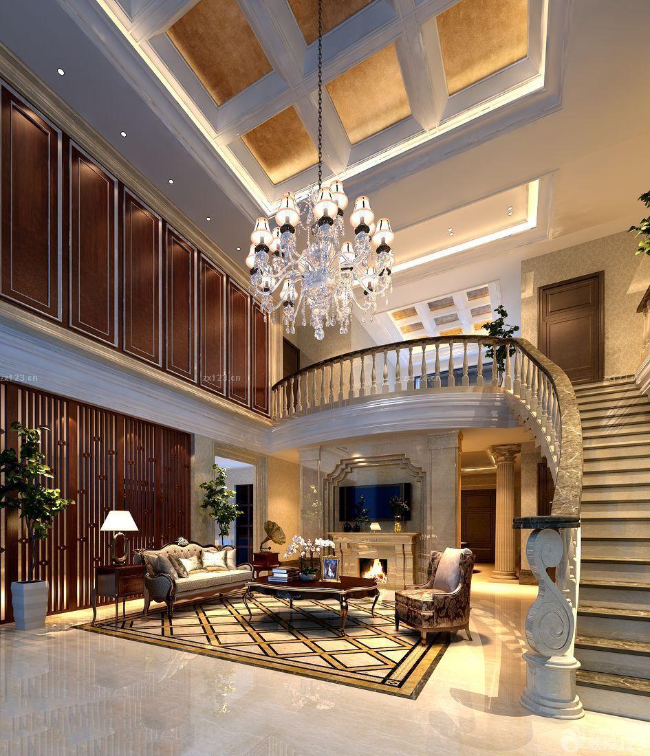 歐式別墅室內客廳吊頂效果圖