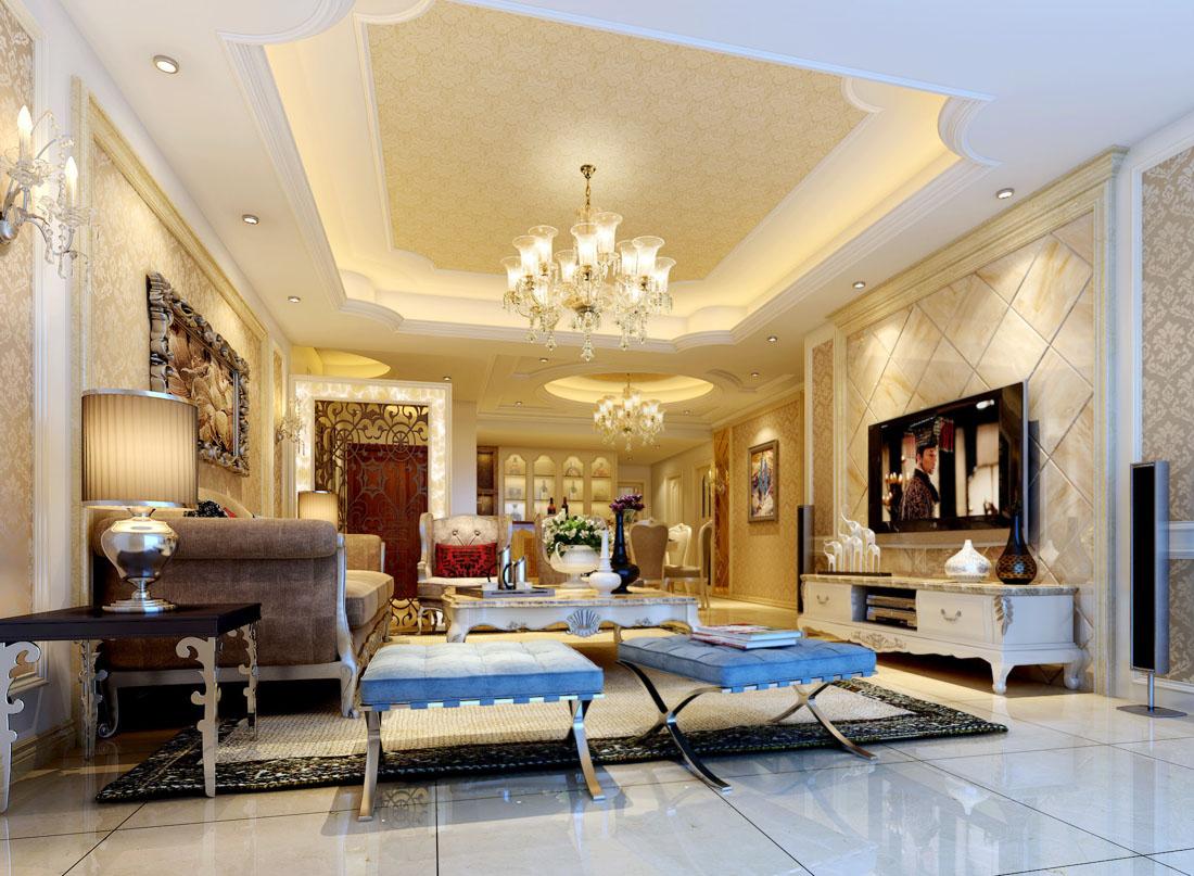 歐式風格家居別墅客廳裝修效果圖欣賞