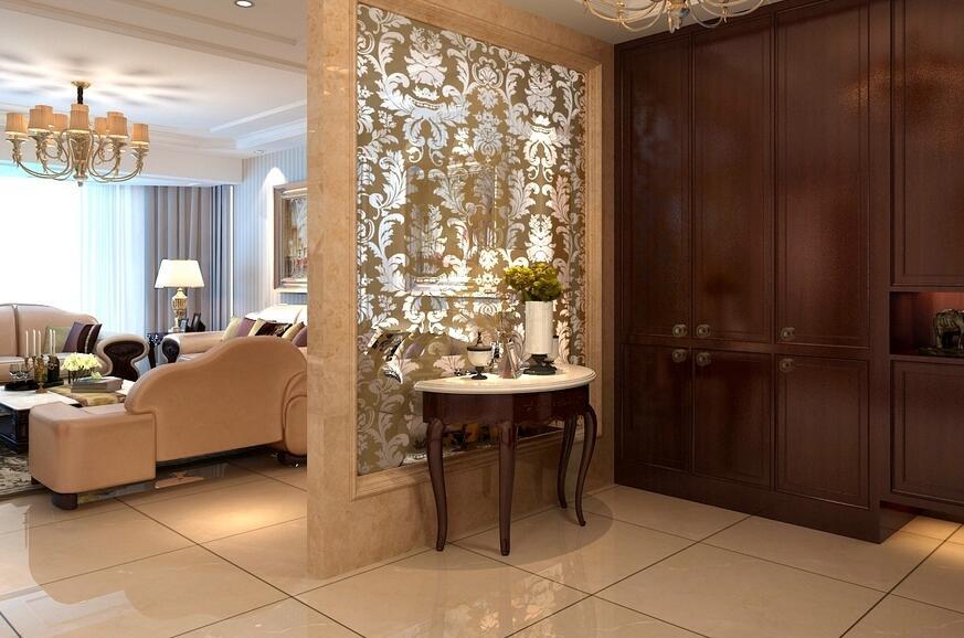 歐式古典風格房屋玄關玻璃隔斷設計效果圖