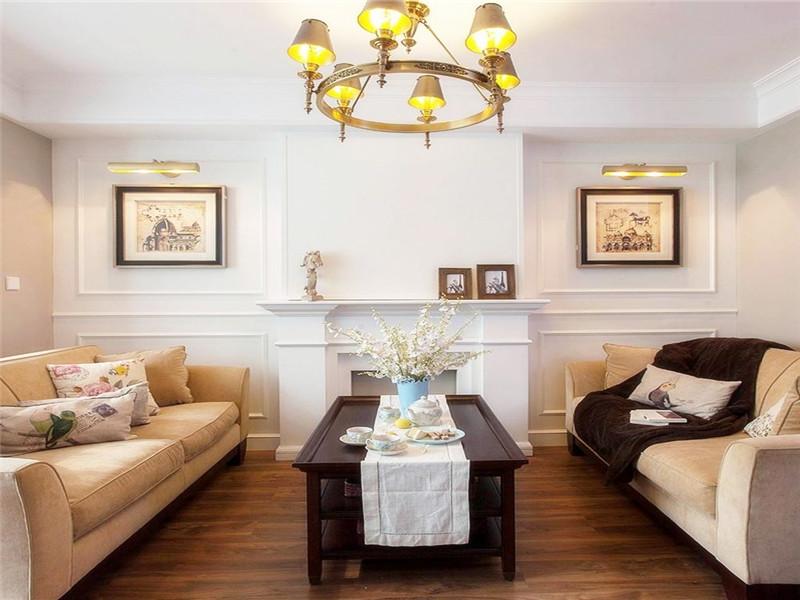 乾城98平米三居室美式鄉村風格客廳裝修效果圖