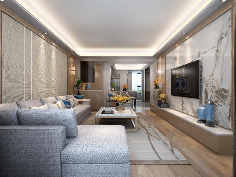 曲江紫汀苑新中式103平二居室客廳裝修案例