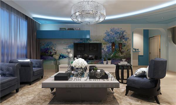 三居140平混搭風格客廳電視背景墻設計