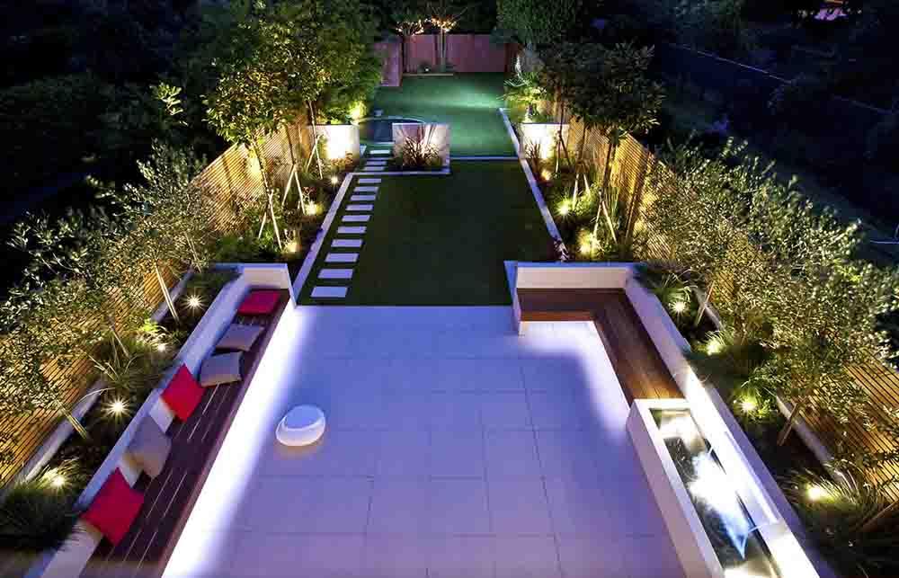 私人別墅花園夜景設計效果圖