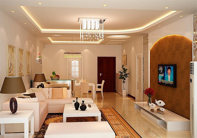 時尚簡約106平米三居客廳背景墻裝修效果圖