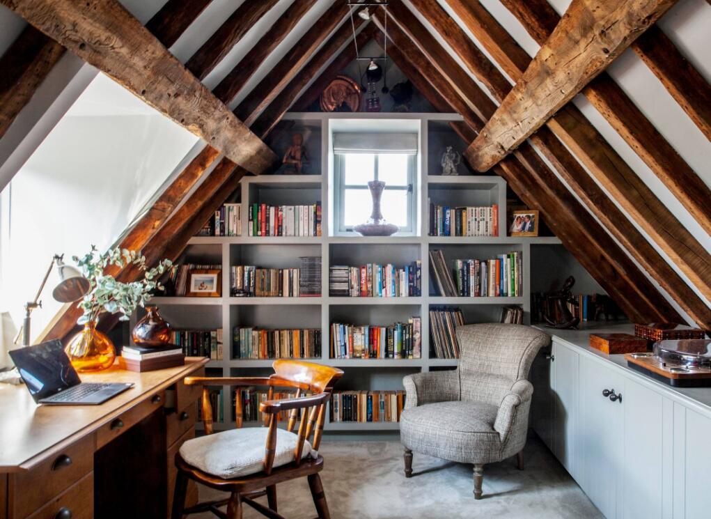 時尚歐式風格小型閣樓書房書柜設計圖片