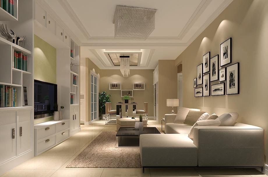 時尚現代90平米二居室客廳照片墻裝修效果圖