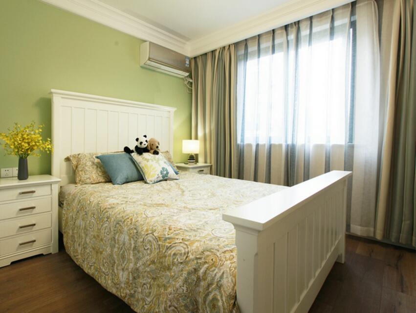 田園風格兩居裝修樣板房臥室窗簾圖片