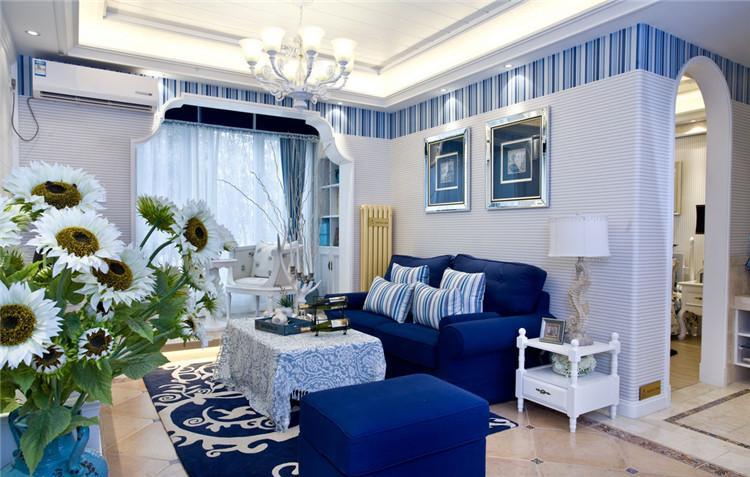 五礦紫湖香醍113平米三居室地中海風格客廳裝修效果圖