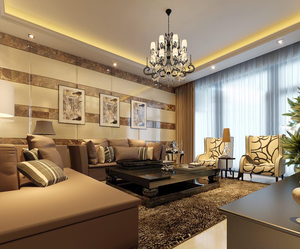 現代別墅客廳微晶石瓷磚沙發背景墻效果圖