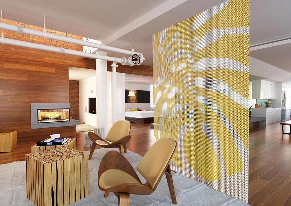 現代別墅客廳珠簾隔斷裝修設計效果圖片