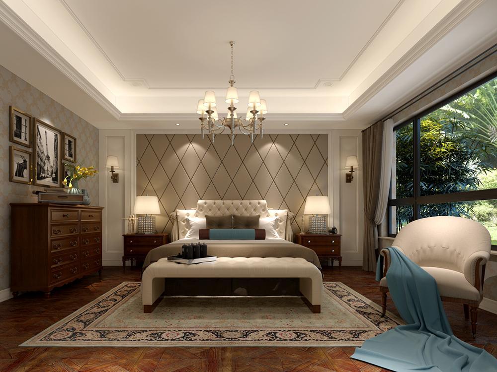 現代別墅臥室床頭背景墻裝修設計效果圖片