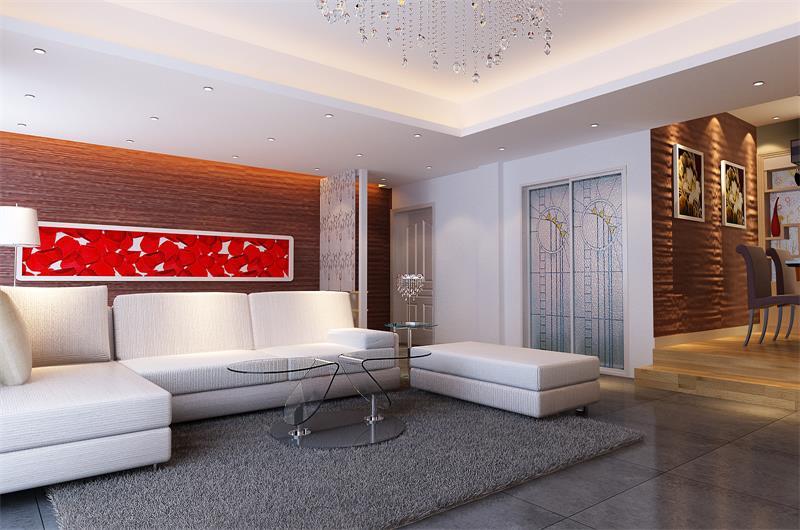 現代風格101平米三居室客廳玻璃茶幾裝修效果圖