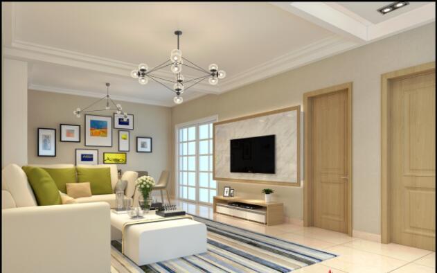 現代風格130平米三居室客廳電視機墻裝修效果圖