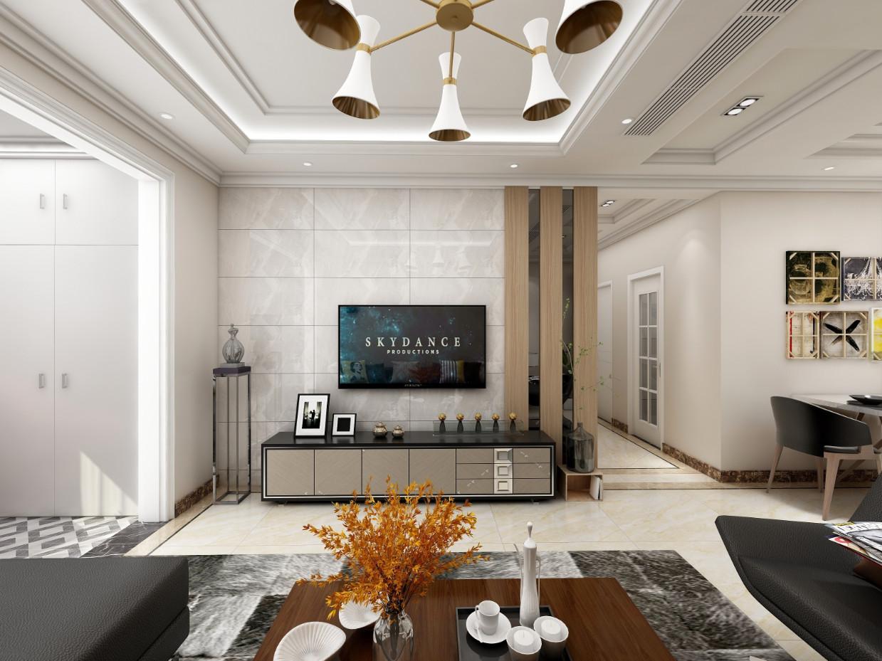 現代風格132平三室客廳電視墻裝修效果圖