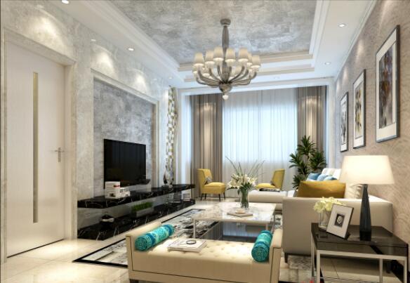 現代風格140平米三居客廳電視背景墻裝飾效果圖