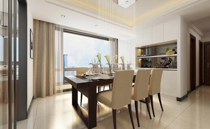 現代風格143平米三居室餐廳布局效果圖