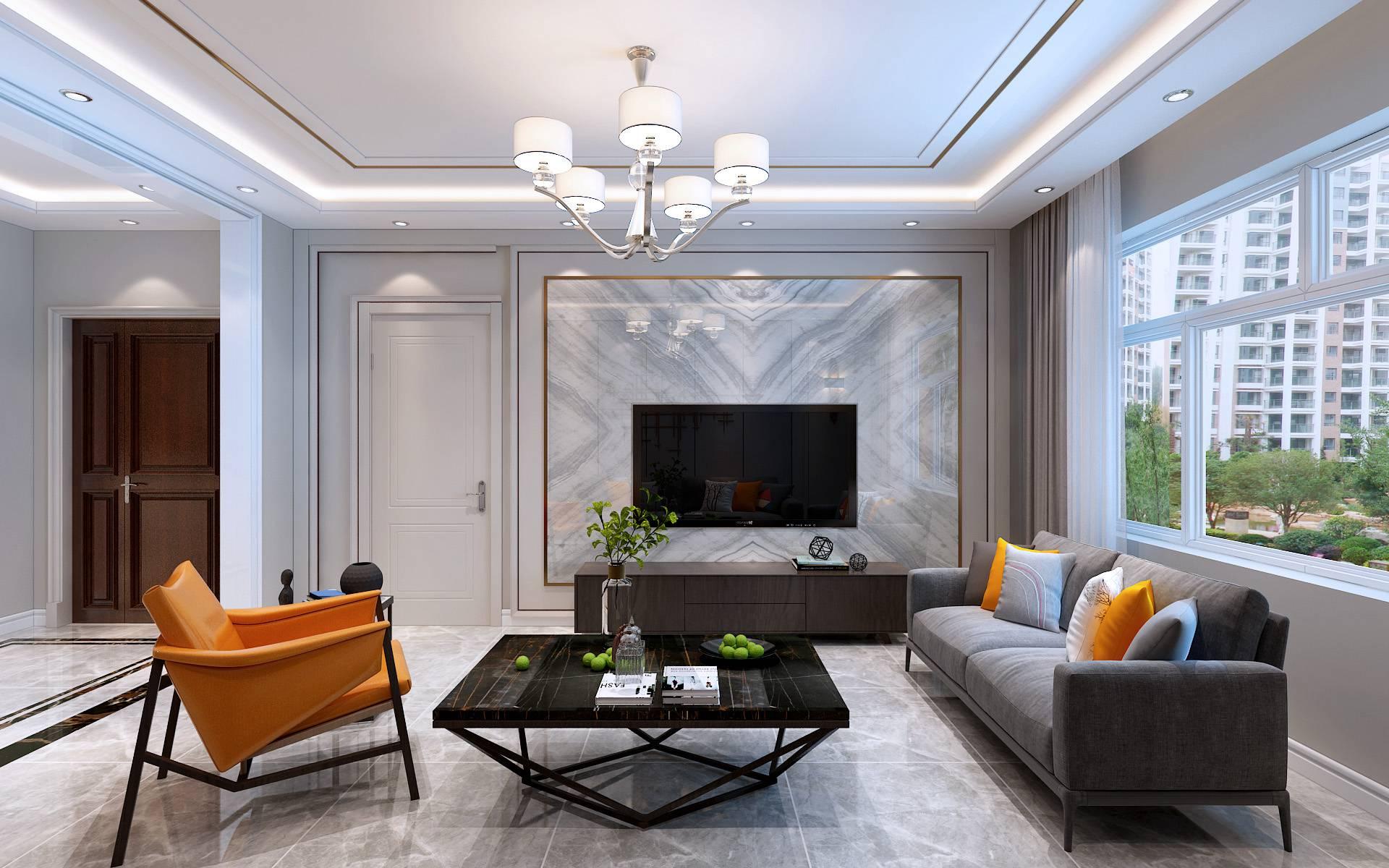 現代風格90平方米兩居室客廳電視墻設計效果圖