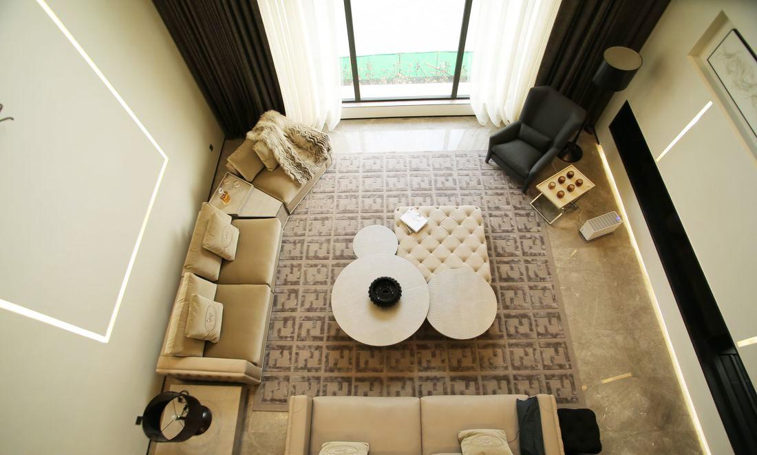 現代風格別墅客廳組合茶幾裝修效果圖片