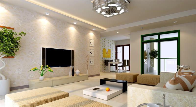 現代風格三居室客廳壁紙電視背景墻裝修效果圖