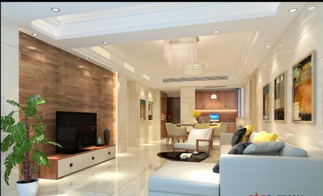 現代簡約風格110平米二居室客廳電視柜設計效果圖