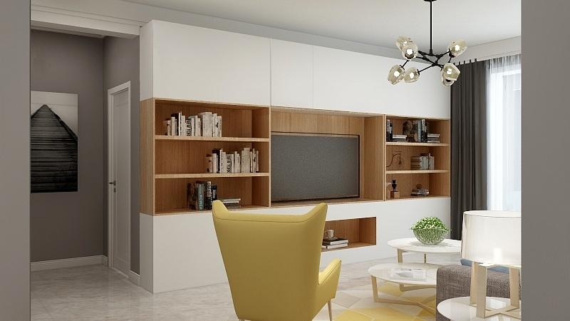 現代簡約風格123平方三居客廳電視墻柜設計效果圖