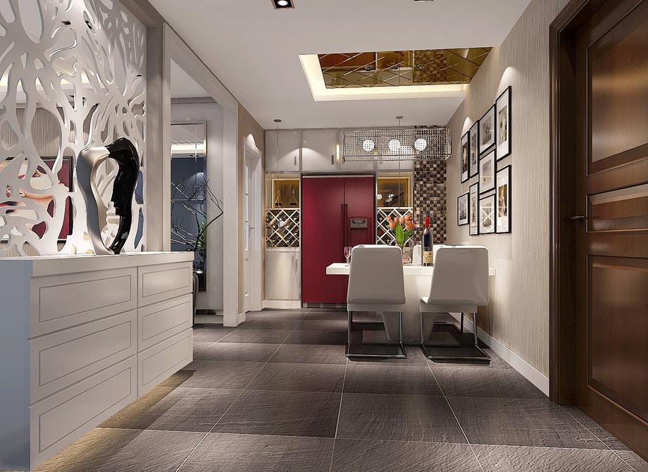 現代簡約風格92平米二居室餐廳照片墻裝修效果圖
