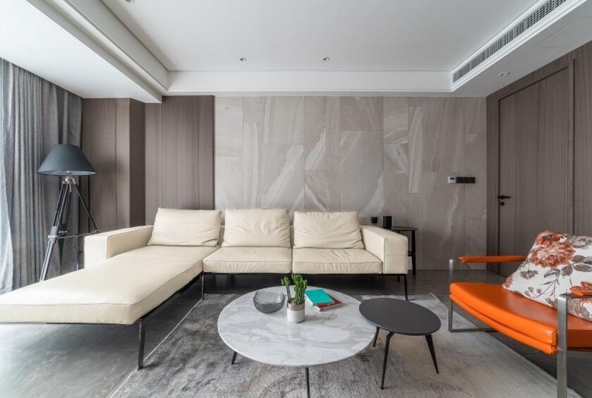 現代簡約風格兩居樣板房客廳轉角沙發裝修