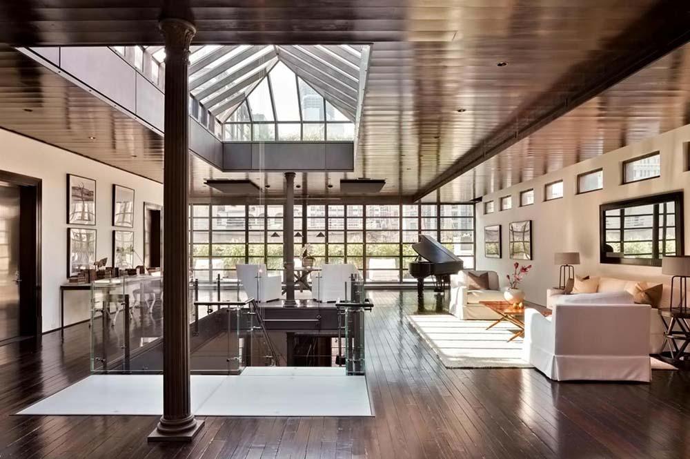 現代簡約復式別墅斜頂吊頂裝修設計效果圖