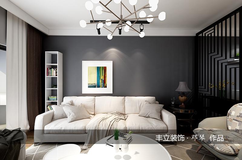 現代簡約客廳沙發背景畫裝飾效果圖片