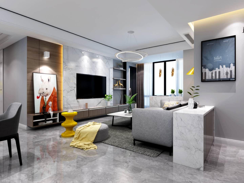 現代簡約三居室客廳電視背景墻裝修效果圖