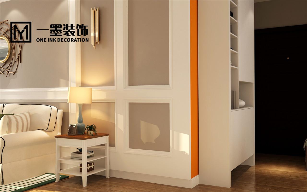 現代美式風格108平米二居客廳臺燈擺放效果圖