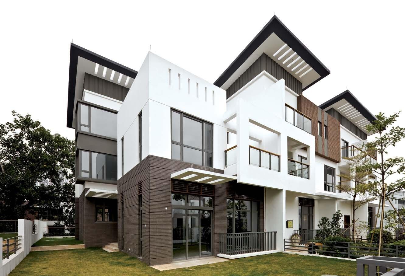 現代農村別墅外觀外墻瓷磚設計效果圖