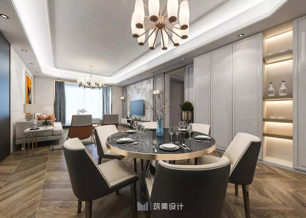 現代輕奢風格145平四居室餐廳墻面柜裝修效果圖
