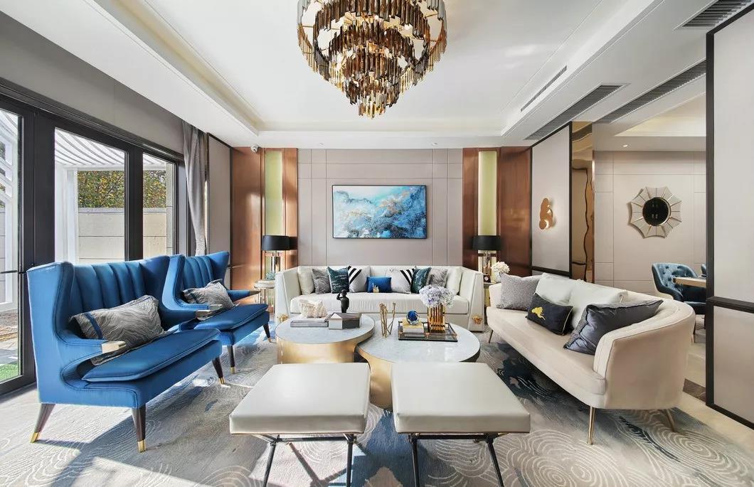 現代輕奢風格149平四居室客廳沙發裝飾圖片