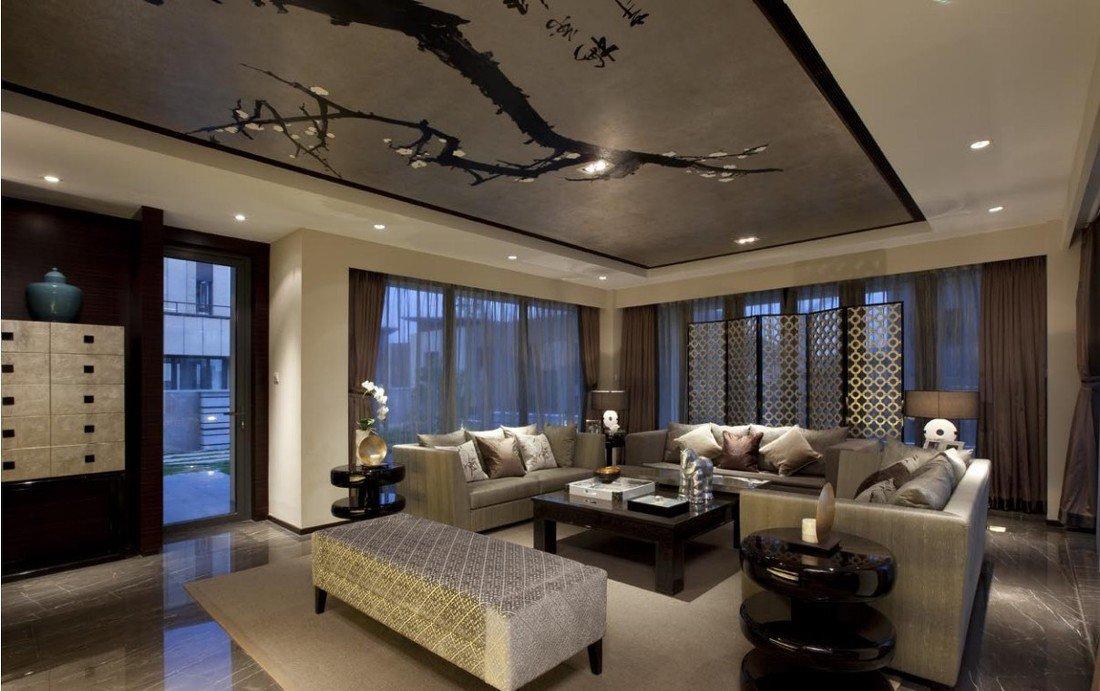 現代中式別墅客廳家居裝修