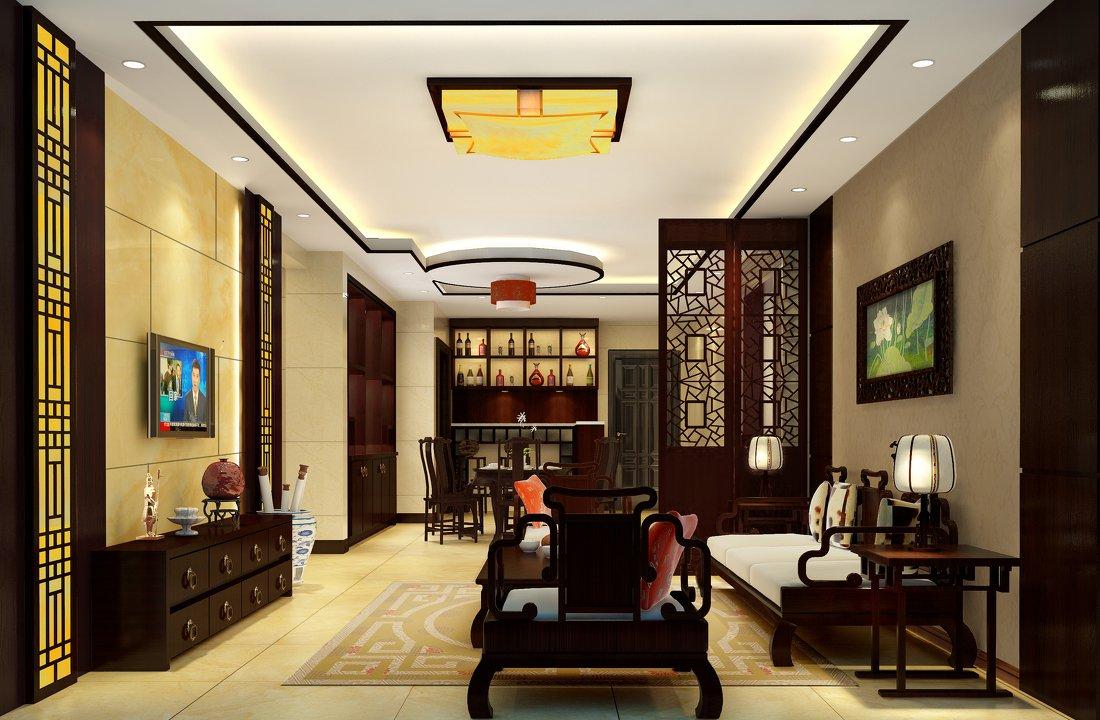 現代中式別墅客廳家具圖片