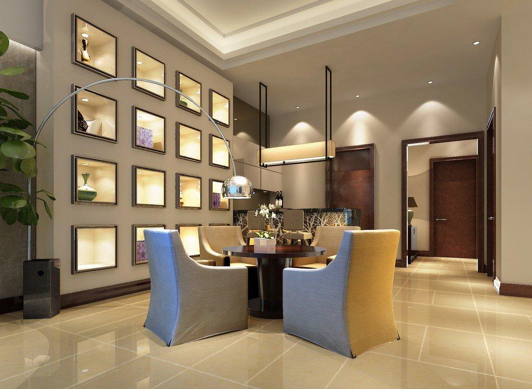現代中式風格元素別墅室內設計裝修效果圖片