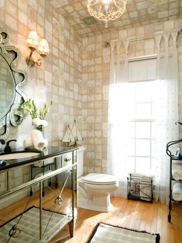 小法式風格國外私家別墅浴室墻面壁紙搭配設計圖