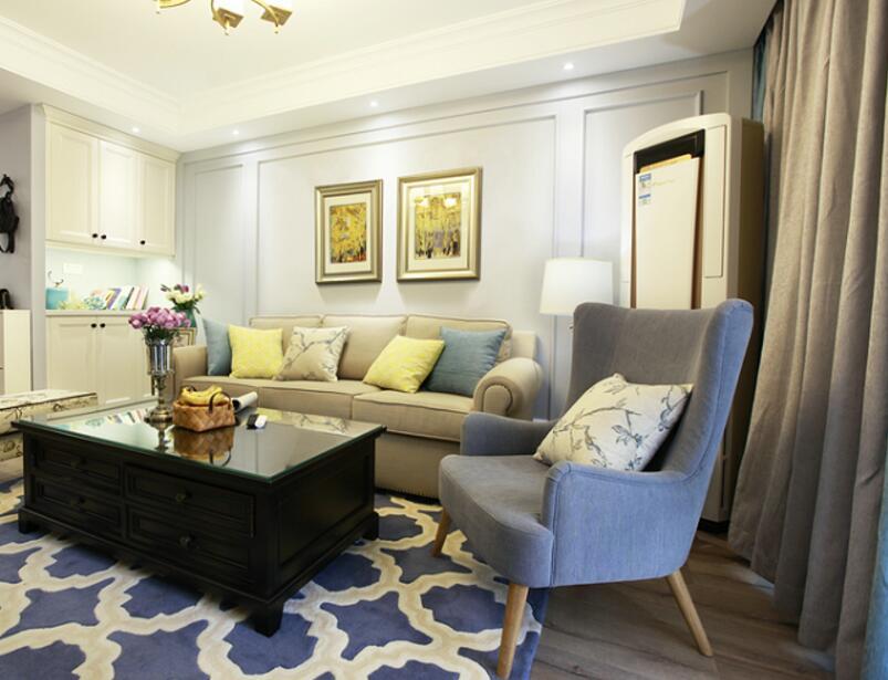 小戶型兩居樣板房客廳地毯裝修圖片