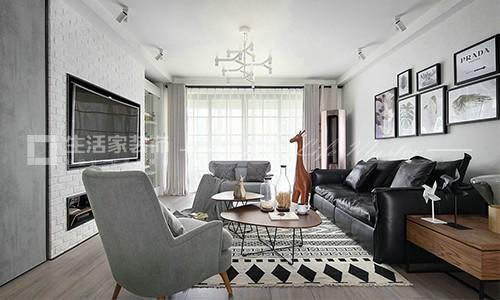 旭日愛上城112平米三居室現代簡約風格客廳裝修效果圖