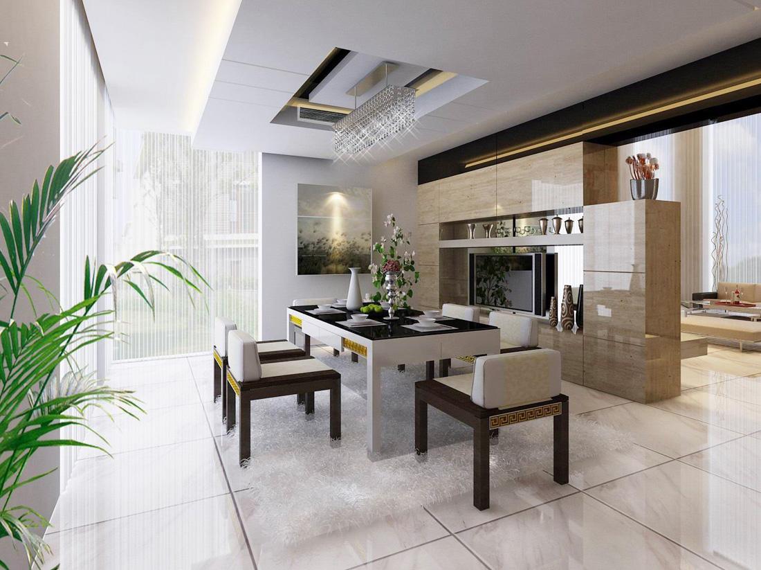 小型別墅現代中式風格餐廳設計裝修效果圖