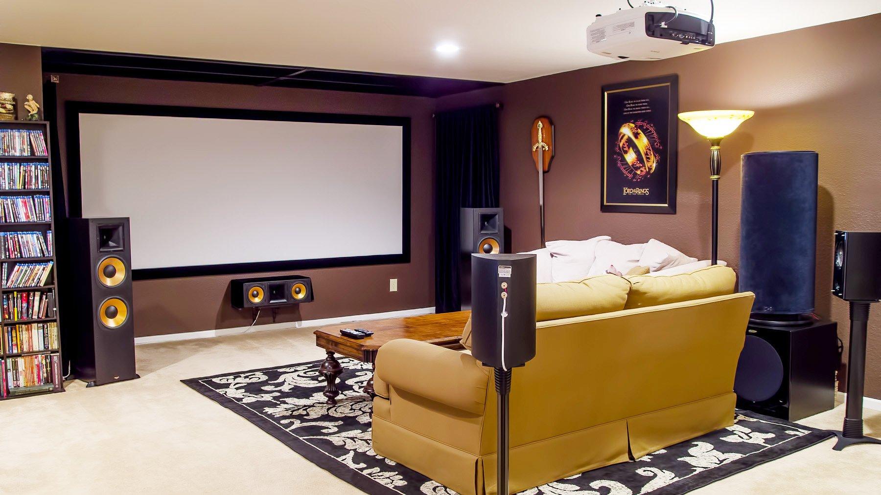 小型家庭影院3d影視墻效果圖大全