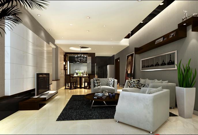 祥域142平米黑白現代風格客廳裝修效果圖