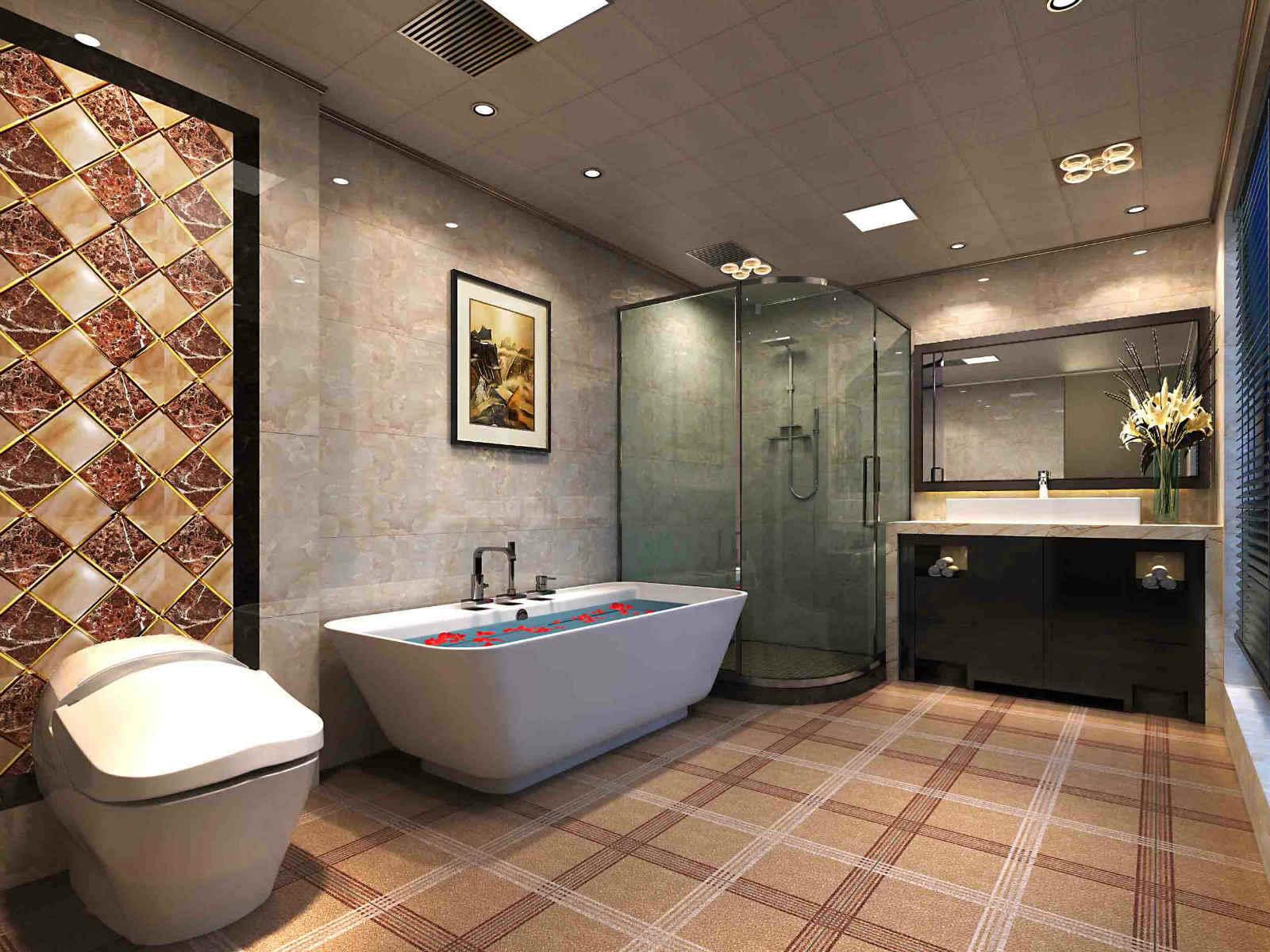 新中式別墅帶浴缸的衛生間裝修效果圖大全圖片