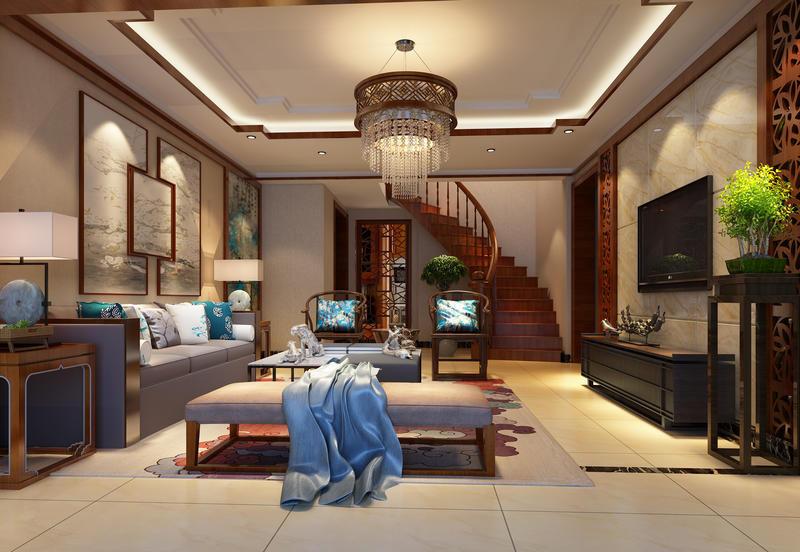 新中式別墅客廳沙發背景墻裝修設計效果圖片