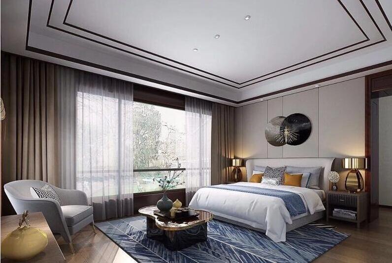 新中式別墅室內柔紗簾裝修效果圖