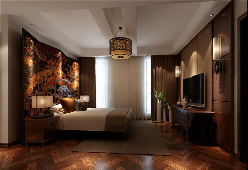 新中式別墅臥室背景墻裝修效果圖