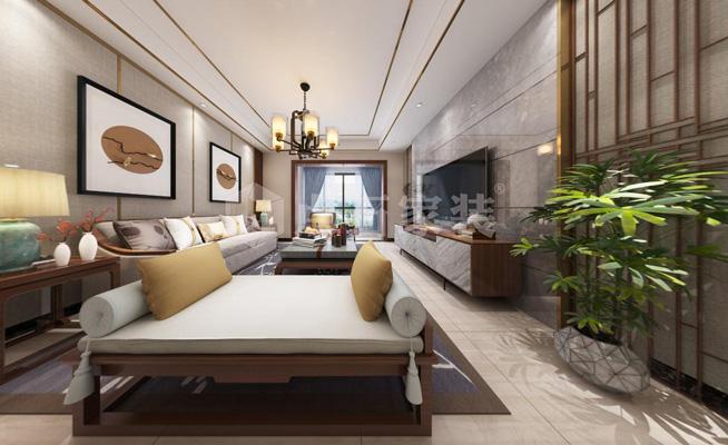 新中式風格116平米三居室客廳背景墻裝修效果圖